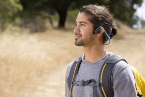 The AfterShokz headphones ensure safe and comfortable hiking